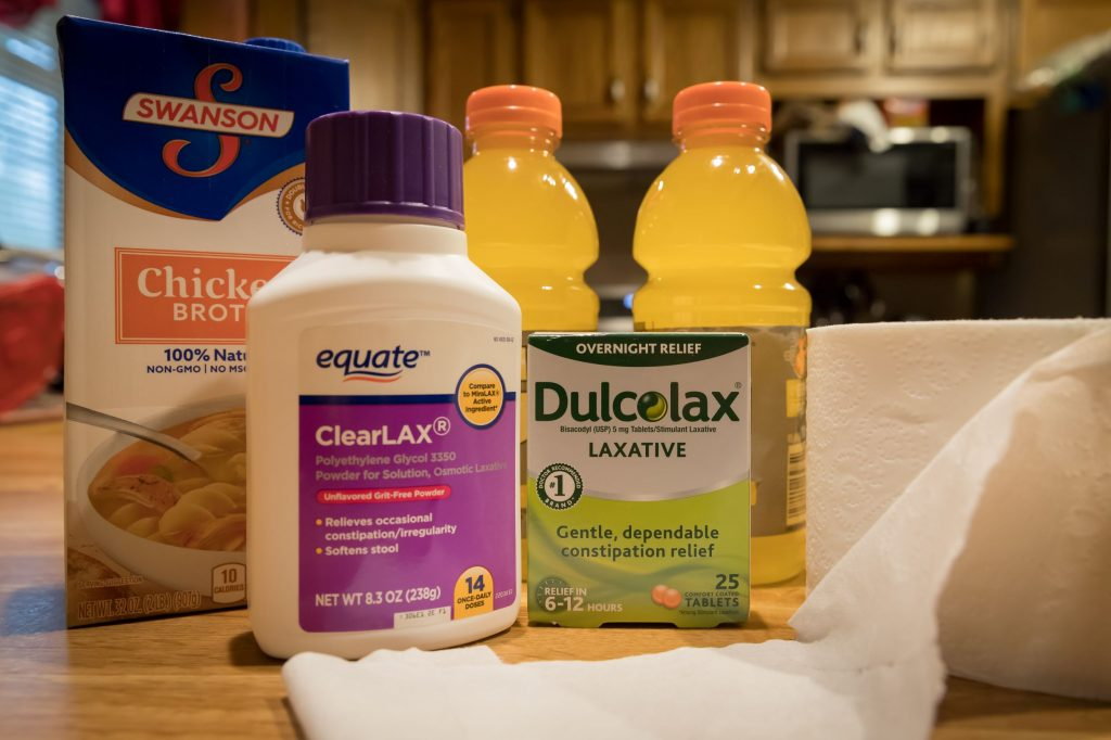 The day before your colonoscopy, be prepared to be on a clear broth diet and laxative prescribed by your physician.