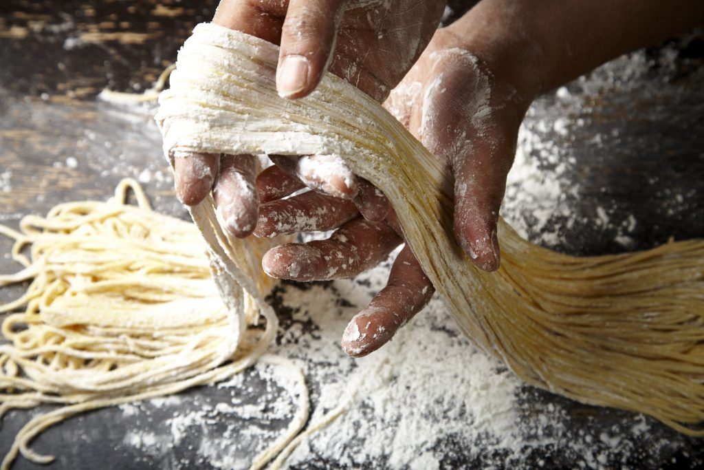 Fresh pasta noodles are low in fiber and easy to make
